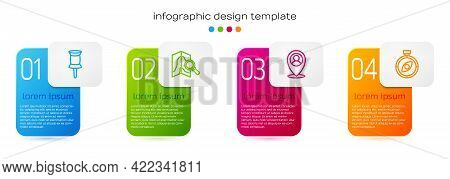 Set Line Push Pin, Search Location, Location With Person And Compass. Business Infographic Template.