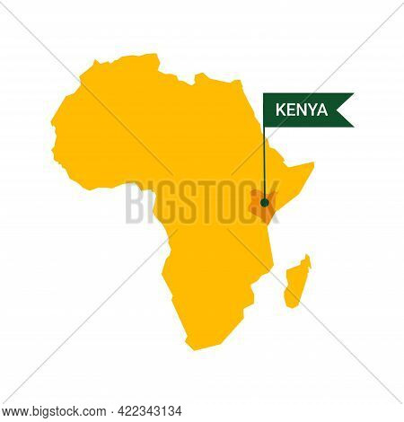 Kenya On An Africa S Map With Word Kenya On A Flag-shaped Marker.