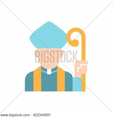Clergy Vector Flat Color Icon. Male Catholic Priest. Vatican Pope. Religious Figure. Christian Churc