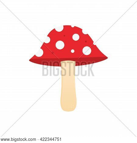 Cute Cartoon Style Inedible Mushroom With Dotted Red Cap. Toadstool, Fly Agaric Mushroom Vector Illu