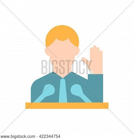 Political Elite Vector Flat Color Icon. Public Demonstration, Speaker From Government. High Status O