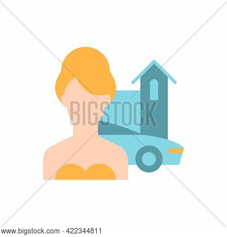 Upper Class Vector Flat Color Icon. Woman Of High Status In Society. Luxury Lifestyle. Rich Person.