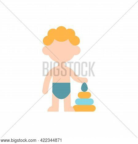 Male Toddler Vector Flat Color Icon. 1-2 Years Old. Child Development. Preschooler Boy. Early Childh