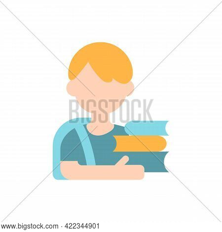 Schoolboy Vector Flat Color Icon. School Kid With Books. Elementary Education. Early Adolescence. Ma