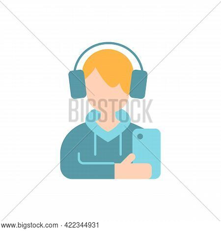 Teenage Boy Vector Flat Color Icon. Male Teenager. Adolescence, Gen Z. School Kid, Child With Smartp