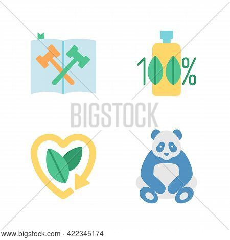 Nature And Ecology Preservation Vector Flat Color Icon Set. Environmental Law And Legislation. Bio P