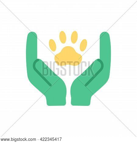 Animal Welfare And Wildlife Protection Vector Flat Color Icon. Green Activism. Pet Healthcare. Ecolo