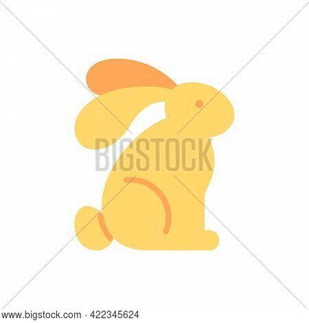 Rabbit Vector Flat Color Icon. Cute Bunny, Wild Hare. Wildlife Preservation. Cruelty Free Label. Eco