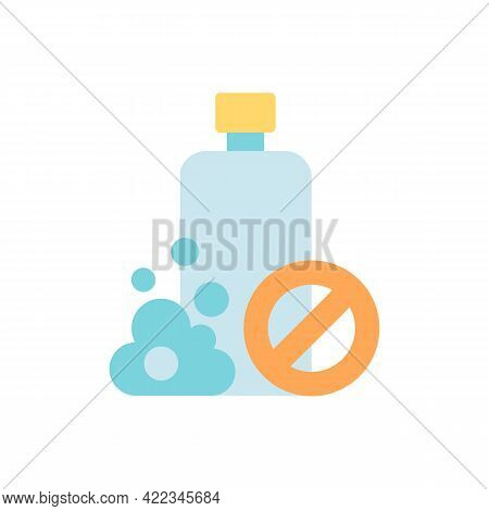 No Chemical Products Vector Flat Color Icon. Avoid Allergens In Cosmetics, Make Up For Sensitive Ski