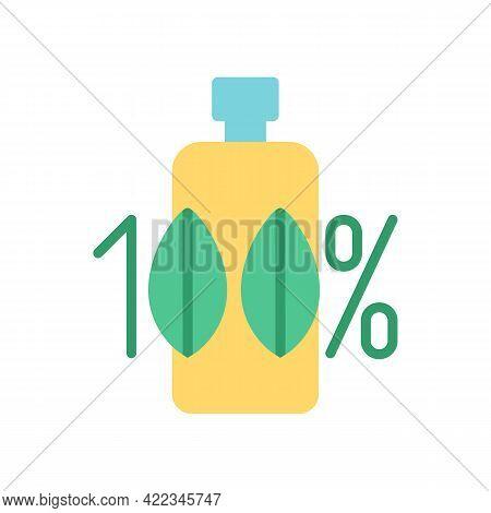 100 Percent Organic Makeup Product Vector Flat Color Icon. Eco Friendly Cosmetic. Zero Waste. Bio Pr