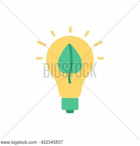 Renewable Energy Resource Vector Flat Color Icon. Sustainability In Electricity Generation. Ecology