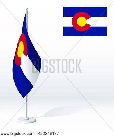 Flag Of American State Of Colorado On Flagpole For Registration Of Solemn Event, Meeting Foreign Gue