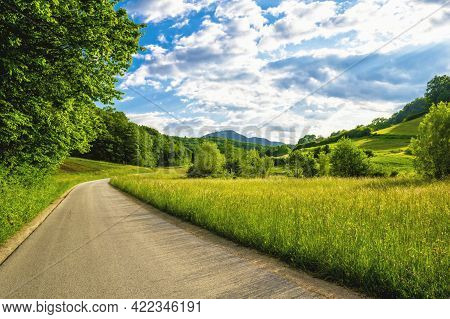 Panorama Of Beautiful Countryside Of Slovenia. Sunny Afternoon. Wonderful Summer Landscape. Grassy F