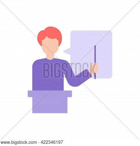 Preschool Teacher Vector Flat Color Icon. Tutor During College Classes. Education And Studying. Skil