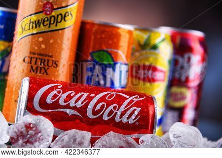 Cans Of Popular Soft Drink Brands