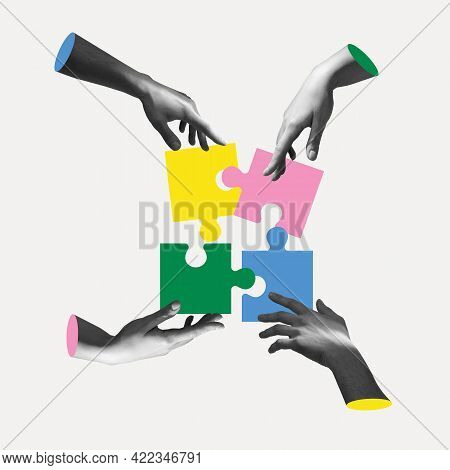 Hands Aesthetic On Light Background With Colored Puzzles, Artwork. Concept Of Business, Community, P