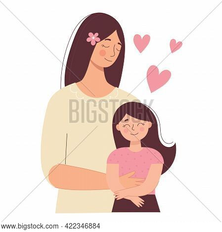 Beautiful Woman Holds A Baby In Her Hands, Mom Hugs Her Children. Mother's Day, Women's Day. Flat Ve