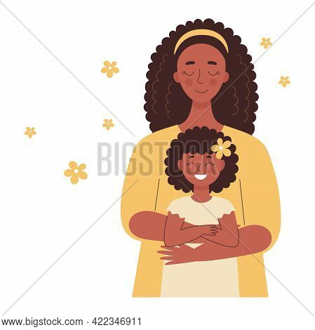 Beautiful African Black Woman Holds A Baby In Her Arms, Mom Hugs Her Children. Mother's Day, Women's