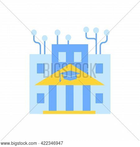 Institute Of Technology Vector Flat Color Icon. Professional It College, Higher Education. Computer
