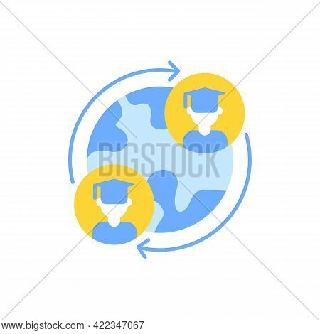 Exchange Program Vector Flat Color Icon. International Students Swap. Opportunity For Studying In Fo
