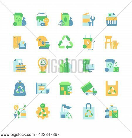 Waste Management Vector Flat Color Icon Set. Residential Waste Collection. Paper Shredding. Bulky Re