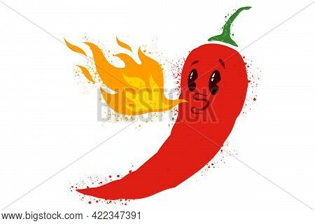 Vector Illustration Of Chilli Pepper With Face. Vector Icon Of Red Chili Pepper.