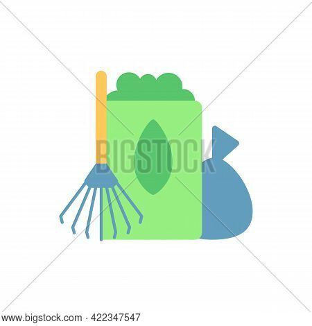 Yard Waste Collection Vector Flat Color Icon. Organic Waste From Residential Lawns And Gardens. Gras