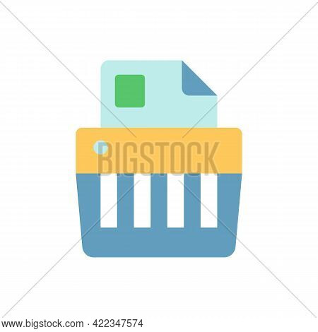 Paper Shredding Vector Flat Color Icon. Cutting Paper Into Either Strips, Fine Particles. Mechanical