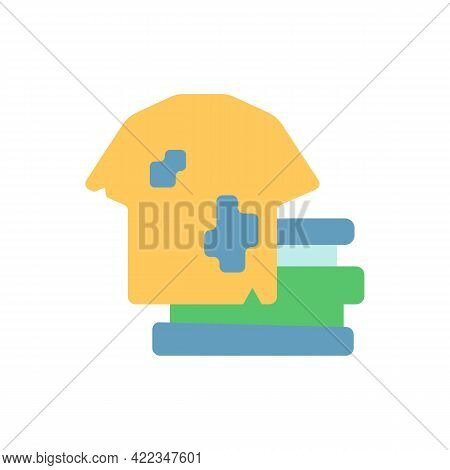 Textile Waste Vector Flat Color Icon. Clothing, Footwear. Fashion, Textile Industry Refuse. Post-con