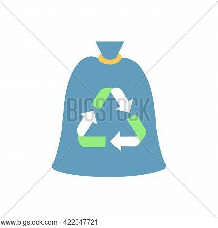 Compostable Trash Bag Vector Flat Color Icon. Refusing From Plastic Litter Bags. Eco Friendly, Biode
