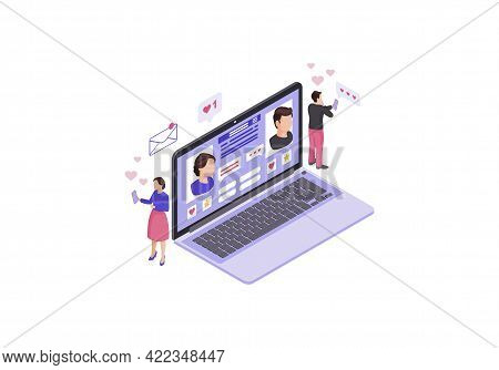Online Chatting Laptop Webpage Isometric Color Vector Illustration. Persons Social Network Profile I