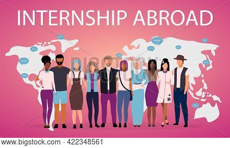 Internship Abroad Poster Vector Template. Students Exchange Program. Brochure, Cover, Booklet Page C