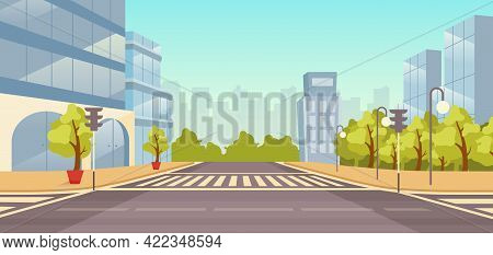City Street Flat Vector Illustration. Cityscape With No People. Urban Highway With Skyscrapers, Park