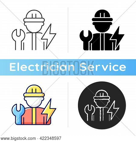 Electrician Icon. Electrical Wiring System Installation And Maintenance. Operating With Electric Dev