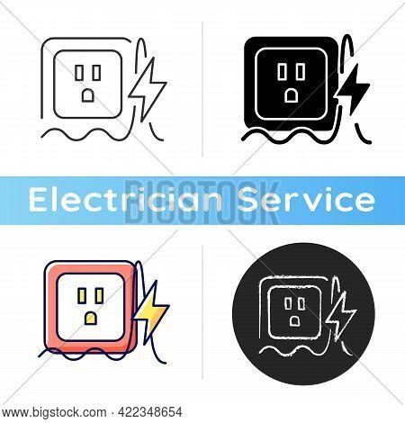 Power Surge Icon. Brief Overvoltage Spikes. Unexpected Electricity Flow Interruption. Equipment Dama
