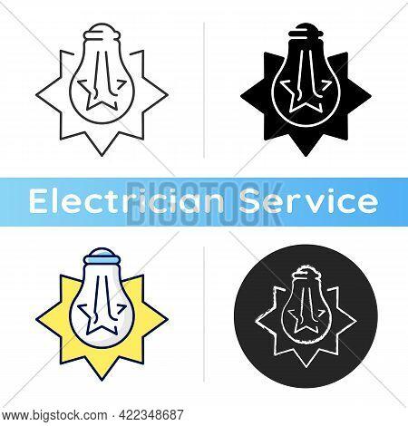 Exploding Light Bulb Icon. Pressure Imbalance. Overheated Bulb. Glass Shards. Excessive Wattage. Ele