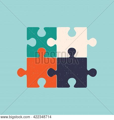 Hand Drawn Puzzle Pieces. Vector Isolated Illustration For Design.