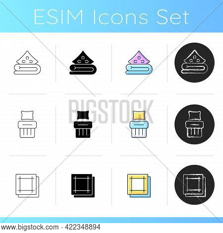 Home Textile Products Icons Set. Bed Linen. Soft Blanket And Pillow. Kitchen Napkins. Single Bed She