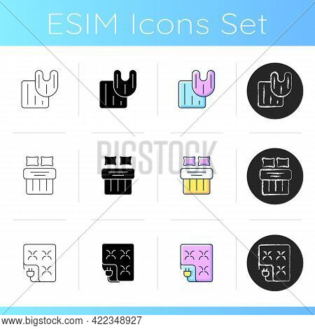 Household Textile Products Icons Set. Bathroom Rag, Toilet Carpet. Double Bed Sheets. Electric Blank