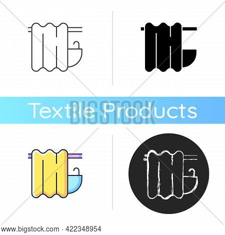 Bath Curtain Icon. Bathroom Drapes On Rod. Shower Drapery. Textile Products, Household Cloths. Domes