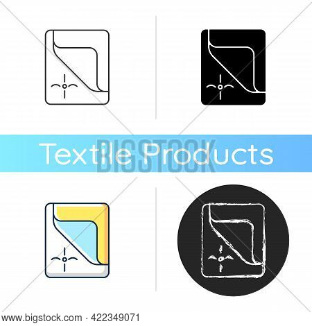 Mattress Cover Icon. Bed Duvets. Soft Clean Sheets. Dust Protector. Textile Products, Household Clot