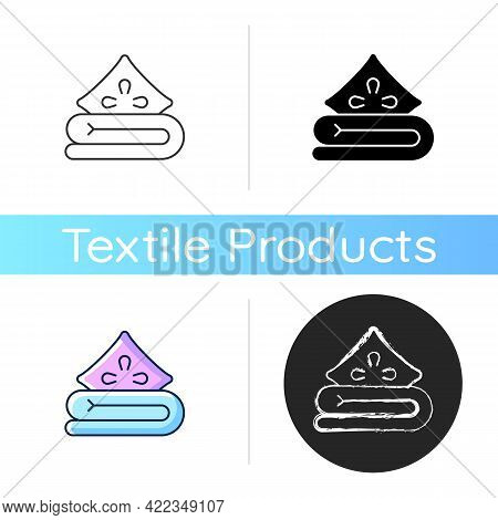 Bed Linen Icon. Soft Cushion And Sheets. Comfortable Duvet, Pillow. Textile Products, Household Clot