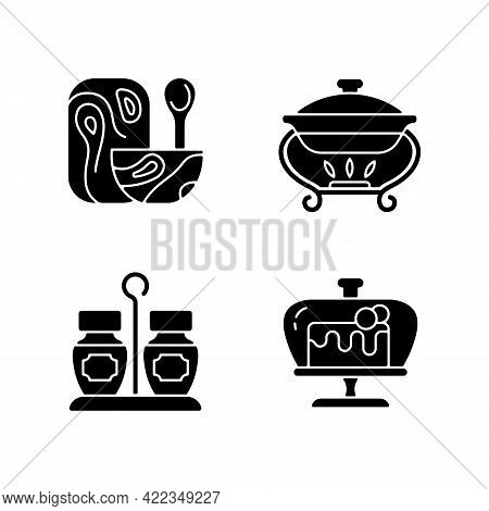 Modern Tableware Black Glyph Icons Set On White Space. Wooden Tableware For Kitchen. Warming Tray Fo