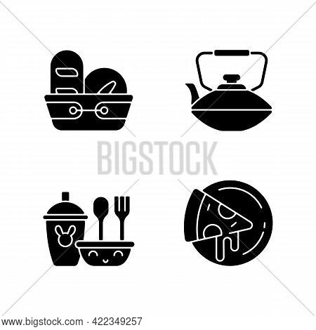 Kitcken Dinnerware Black Glyph Icons Set On White Space. Kitchen Bread Basket. Pizza Plates For Pizz