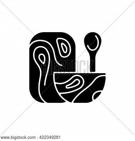 Wooden Tableware Black Glyph Icon. Food Preparation Tools. Accessories Used For Cooking Food. Dinner