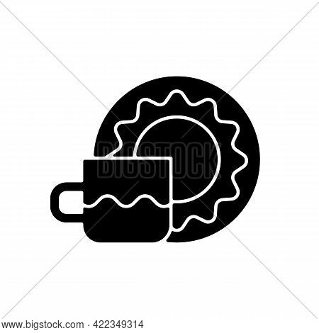 Cup And Saucer Set Black Glyph Icon. Dinning Accessories For Tea Party. Container For Drinking Hot L
