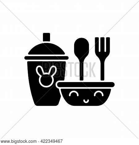 Kids Dinnerware Black Glyph Icon. Plates Created For Children To Eat Comfortably. Learning How To Ea