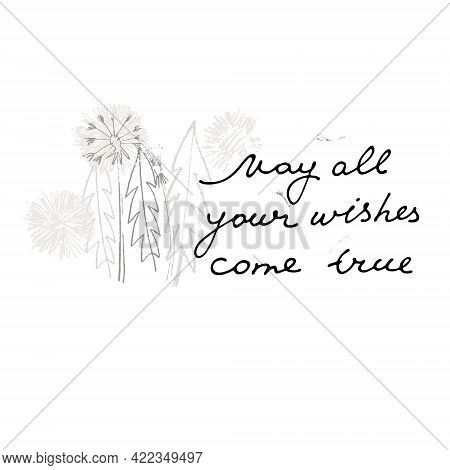 May All Your Wishes Come True Vector Card. Hand Drawn Illustration Of Dandelions With Seeds Blowing