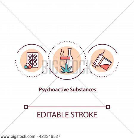 Psychoactive Substances Concept Icon. Illicit Drugs. Addiction Rehabilitation. Substance Abuse. Abst