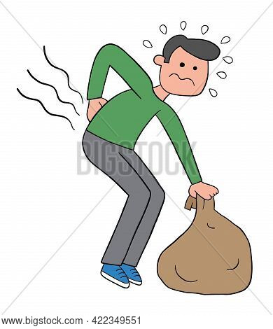 Cartoon Man Bends Down To Pick Up The Sack But His Back Hurts, Vector Illustration. Black Outlined A